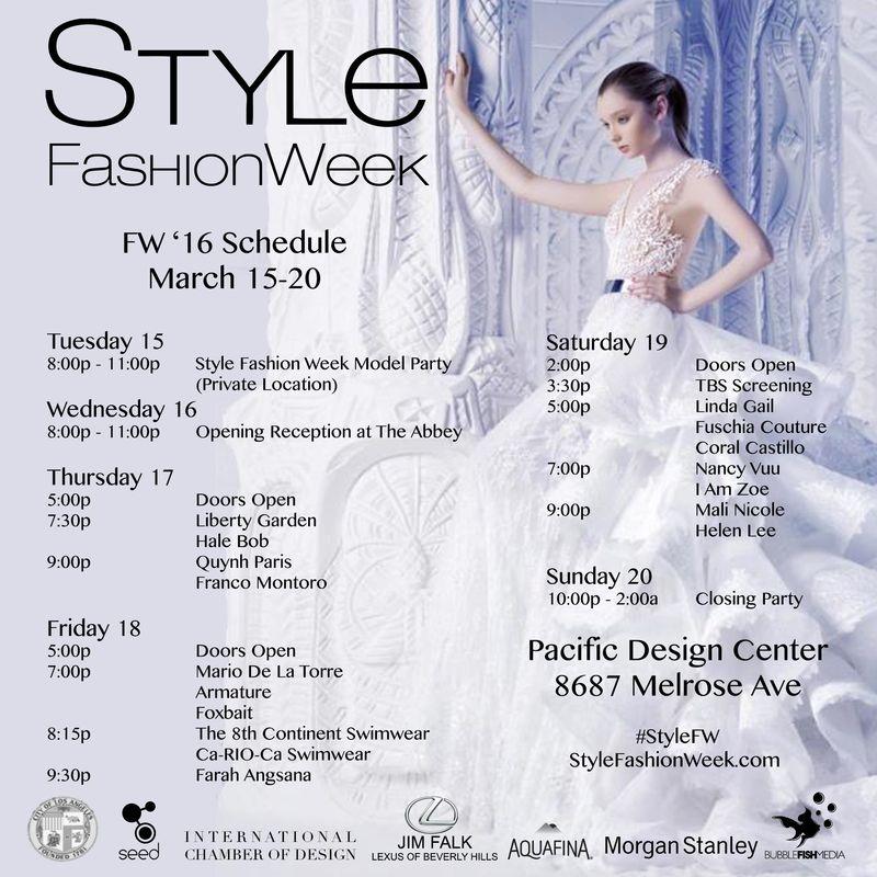 SFW March 16 Schedule